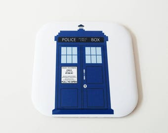 Tardis Doctor Who Police Box Coaster, Blue, London, Functional Cork Coaster, Gift for Her, Gift for him