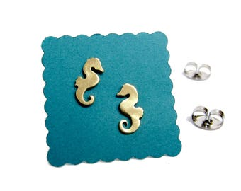 tiny seahorse stud earrings