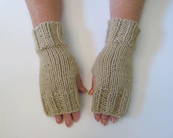 Hand Knit Fingerless Mittens/Texting Gloves - Tan Wrist Warmers- One Size Fits All