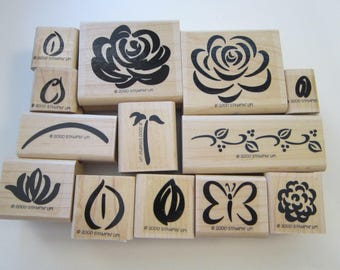 13 rubber stamps - ROSE RHAPSODY two step stampin - Stampin Up 2000
