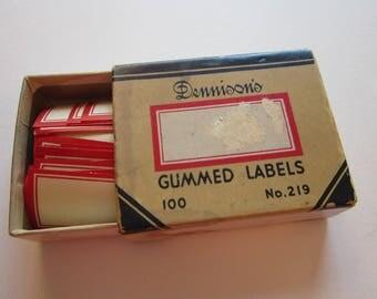 20 vintage DENNISON labels - self gummed - red and white - 2 sizes
