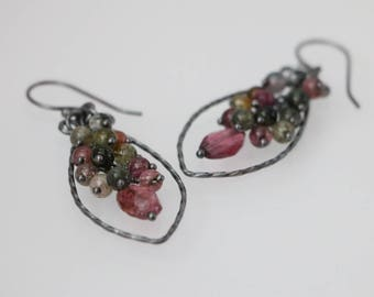 Multi color Tourmaline Antique Sterling Silver Earrings, Tourmaline Cluster Hoop Earrings, Tourmaline Jewelry, October Birthstone