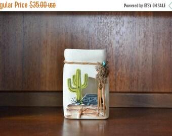 SALE 25% OFF vintage southwest klay n kraft cactus vase