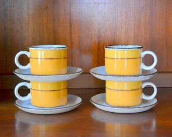 vintage midcentury retro english ceramic coffee cups and saucers / midcentury modern / eve midwinter pottery