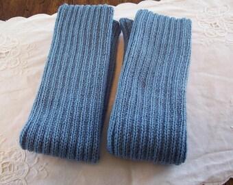 Knitted Leg Warmers Blue Leg Warmers, Acrylic Legwarmers, Dance leg warmers, Boot Leg warmers
