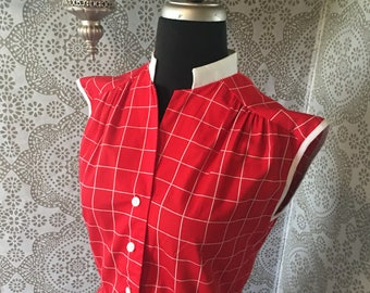 Vintage 1980s Red & White Grid Geometric Dress M/L Medium Large