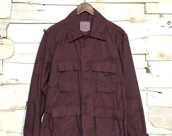 Vintage Army Issue Dyed Dessert Camo 100% Cotton Warm Weather Button Up Jacket Made in USA - Purple