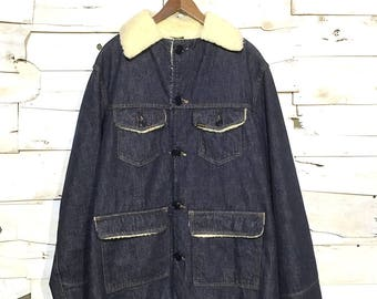 Vintage Sears Boa Lining Denim Jacket - Large