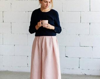 Dusky Pink Linen Midi Skirt Pure Linen Sustainable Fashion
