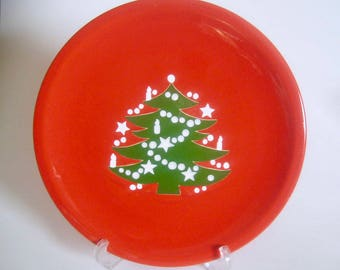 """aechtersbach West Germany Christmas Tree 10"""" Red Dinner Plate Coupe"""