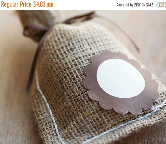 ON SALE Set of 3- Natural Burlap Bags  Plain - Decoration for demonstration purposes-  Size 3.75 in x 6.75 in