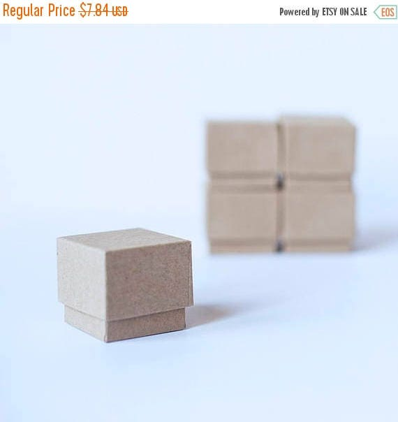 "ON SALE Ring Boxes Kraft Brown w/ foam ring insert -  2"" x 2"" x 1-3/8"" tall -  lot of 10"