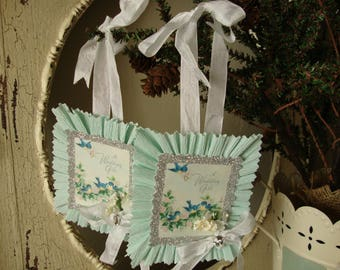 Vintage Wedding gift tags package ties gift wrap for the bride mint green and white floral vintage greeting card tags blue birds