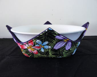 Bowl holder microwave cozy - orchids purple red blue