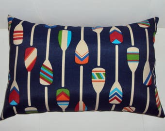 16x10 Navy Blue Multi Color Paddle Boat Oars Indoor Outdoor Lumbar Pillow