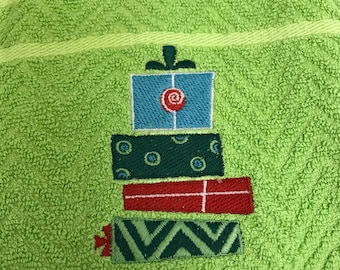 Christmas presents embroidered kitchen towel