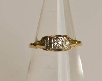 Art Deco Wedding Ring, Engagement Ring,  10K Gold Ring, Diamond Ring Size 5