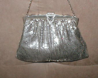 Vintage WHITING & DAVIS Silver Metal Mesh Purse w/ rhinestone clasp
