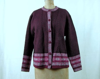 Vintage 1980s Frost 100% Wool Dark Red-Violet and Black Nordic Cardigan Small