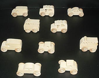 10 Handcrafted Wood Toy Cargo Van, Fire Truck, Cars  OT-15  unfinished or finished
