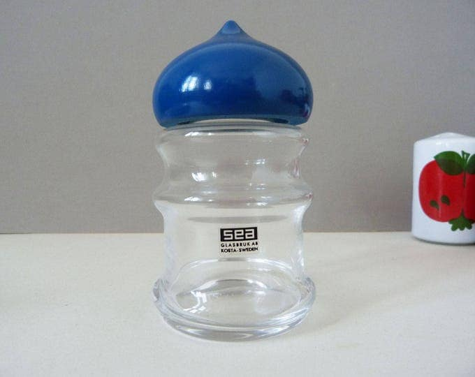 Blue Bjorn Ramel  Glasbruk Kosta of Sweden storage jar