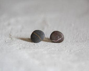 Tiny pebble ear studs on sterling silver posts / beach stone studs / rock earrings ready to ship