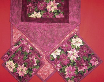 Burgundy Poinsettias-Window Pane pattern Handmade-Quilted-Table Runner-Table Mat-2 Hot Pads-Made in USA by MJ Quilts
