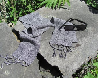 Ink Black White Scarf, Fine Artisan Handmade Hand Loom Woven Lace Stripe Cotton Scarf, Lightweight Formal Casual Mens Womens Fashion Scarf