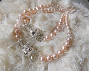 PAIR OF Swarovski tiebacks  blush glass pearls and rhinestone rondelles, wedding decorations