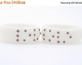 SALE LOVE BRAILLE  Ring , White Porcelain ring with Purple Dots, Personalized Jewelry Initial Ring,Customize Initial Ring