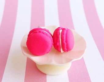 Hot Pink French Macaron Earring Studs