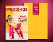 AARTI Indian Wedding Magazine Invitation, Wedding Invite, Newsletter, Mehndi, Sangeet, Baraat, Photo book