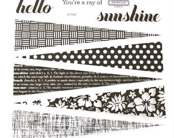 CTMH D1534 Patterned Pennants Flair Close To My Heart Sunshine Triangle Sun Rays Clear Stamp Set Rubber Stamps Retired Unmounted Stamps USED