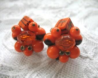 Vintage Cluster Earrings ~ Clip On ~ Orange & Black Plastic Beads