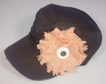 Charcoal gray army hat with large pale pink burlap flower