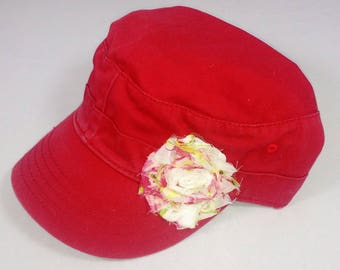 Raspberry red army hat, distressed, with floral print flower