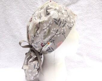 PonyTail Scrub Cap for Women - Scrub Hat - Floral on Grey, Surgical Cap