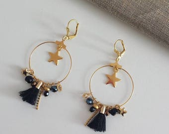 "Earrings ""the starry"" black and gold"