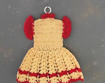 Vintage Crocheted Pot Holder Dress, Yellow, Red, Kitchen Decor