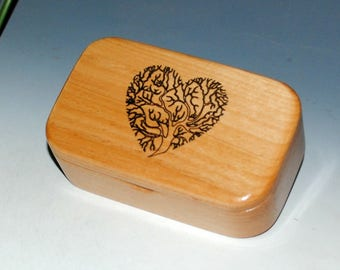 Laser Engraved Tree of Life Heart Alder Handmade Wooden Trinket Box - Wooden Box,Small Wood Box, Business Card Box,Wood Boxes by BurlWoodBox