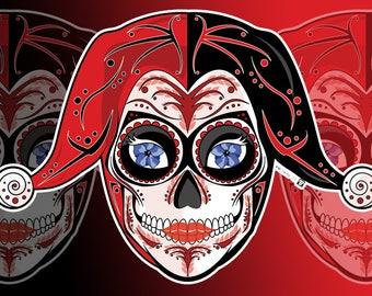 Harley Quinn Sugar Skull 3x4 Vinyl Sticker