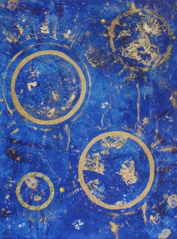 Blue & Gold Abstract Print