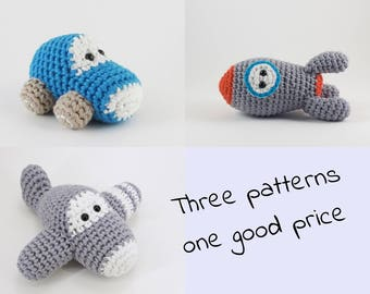 Crochet patterns amigurumi vehicles - car, airplane and rocket - written in US English