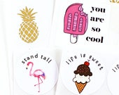 Summer sticker VARIETY PACK + GIFT - you are so cool, stand tall, life is sweet, gold foil pineapple - flamingo, popsicle, ice cream