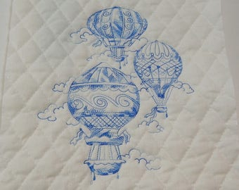 Hot Air Balloons, Quilt Block, Embroidered, Embroidered Quilt Block,  Blue Air Balloons