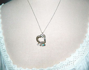 Lenox Sterling Silver Heart With Diamonds and Genuine Stones