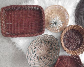 Boho Wall Basket Collection Bohemian Decor Vintage Wicker Baskets Set of 7 Rattan Decor