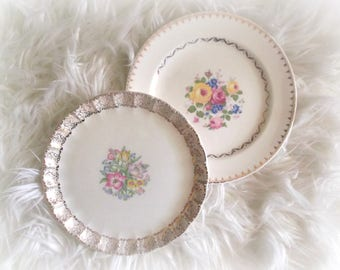 Vintage Plates Mix and Match China Two Shabby Cottage Plates Wedding Decor