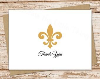 PRINTABLE fleur de lis thank you cards . folded note cards . GOLD fleur de lis notecards  . stationery . You Print
