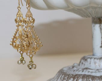 Filigree & Vintage Roman Pearl Victorian Style Earrings,  Gold-Plated Earwires, Civil War or Victorian Appropriate-Affordable Elegance